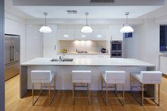 Likes:  -Island -Breakfast Bar -Sink placement -Large Double Door Fridge -Double oven -Pendant lighting -Stools (but not style of) -Splashback  Dislikes:  -Colour scheme -Stark white -Floorboards