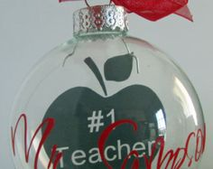 Perfect for the special teacher in your child's life! Personalized Teacher Holiday Ornament by DBYDesignedByYou on Etsy Vinyl Ornaments, Glitter Ornaments, Personalized Ornaments, Glass Ornaments, Christmas Baubles, Holiday Ornaments, Christmas Crafts, Christmas Globes, Christmas Ideas