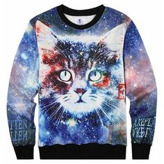 Blue Thick Galaxy Cat Printed Womens Crew Neck Jumper Sweatshirt