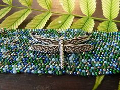 Dragonfly woven seed bead bracelet, green and blue bracelet by BlackFoxMT on Etsy
