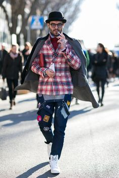 On the street at London's fall 2016 men's fashion week.
