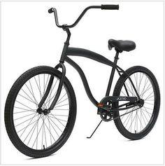 Men's 26-inch Matte Black 1-Speed Beach Cruiser Bike with Coaster Brakes