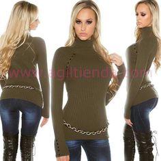 """#Sueter #mangalarga #diseño """"cuello alto"""" de #cisne con tejido de #punto #suave #calido y #elastico que #estiliza la figura con #efecto #chic y #sexy para #complementar tu #look #diario con #estilo #joven y #sofisticado en #otoño e #invierno . Encuentralo en http://www.agiltienda.com/es/home/2553-sueter-cuello-alto-estilo-joven.html #shop #online #taradell @agiltienda.es"""