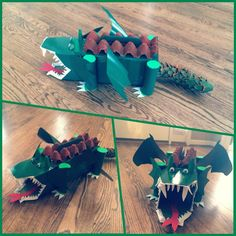 Dragon valentine box for school. Really easy to do. Shoe box for body, cut soda box for head, egg cartons for tail & top of body, felt for teeth, toilet paper rolls for legs, googly eyes, foam for tongue, cut wings & side of head from cereal boxes. Paint and decorate as you'd like!
