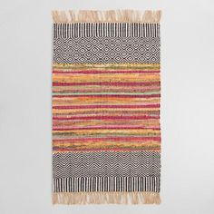 One of my favorite discoveries at WorldMarket.com: 2'x3' Black Geo Chindi Reversible Amarah Area Rug