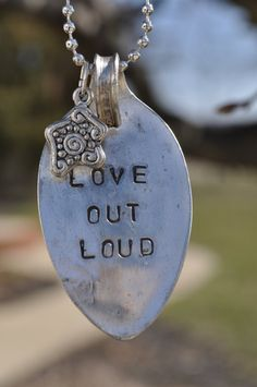 Stamped Spoon Necklace Love Out Loud by grassybranchfarm on Etsy, $18.00