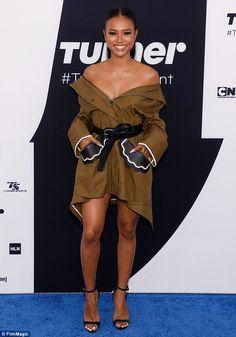 62936238e4e Karrueche Tran flashes her bountiful bosom in a tiny jacket at Upfront