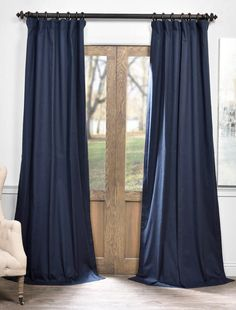 Shop for Exclusive Fabrics Solid Cotton True Blackout Curtain Panel. Get free delivery On EVERYTHING* Overstock - Your Online Home Decor Outlet Store! Get in rewards with Club O! Navy Curtains Bedroom, Curtains 1 Panel, Drop Cloth Curtains, Blue Curtains, Blackout Curtains, Bedroom Decor, Striped Curtains, Window Curtains, Bedroom Ideas