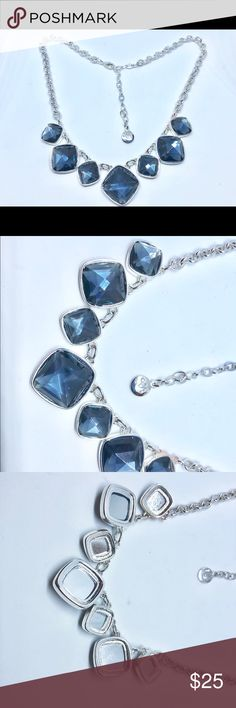 Blue silver plated necklace This is Swarovski Elements blue crystal necklace . Please last 2 pictures. The surrendering Metal one of the Stone is little different than the other ones. It is very small area. Jewelry Necklaces