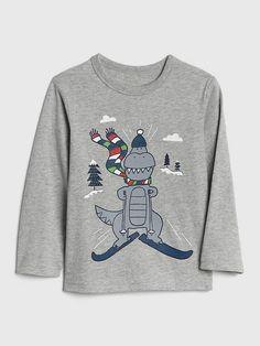2b16cb5f Gap Toddler Graphic Long Sleeve T-Shirt Dinosaur Sketch, Knitting, Long  Sleeve,