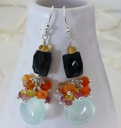 Chalcedony, Tourmaline, Fire Opal & Citrine Sterling Silver Dangle Ear – Sara Nolte Designs