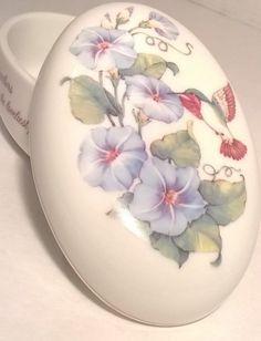 Designer's Collection Porcelain Hummingbird Trinket Box Keepsake Box Gold Trim | eBay