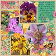 """""""Autumn Blooms"""" Layout by Kaytea.  Kit is Autumn Crush by Lisa Rosa, and Template is Die Cut by Megan's Creations"""