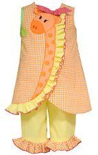 Bonnie Jean Girls Giraffe Easter Spring Summer Dress Capri Outfit 2T 3T 4T New