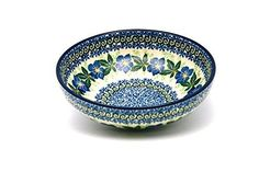 Polish Pottery Bowl  Pasta  Blue Pansy -- Clicking on the image will lead you to find similar pottery product