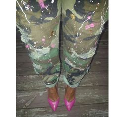 Custom Painted Camo Pants ***My IG: My_vintage_ways   -Custom Made Ripped, Distressed and Painted Offical Army Pants -Message me for sizes and colors Pants