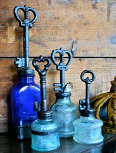 Key top Bottle Collection Reserved For Brianna Vintage Key Home Decor. $54.00, via Etsy - such a cute idea