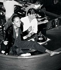 Diana Ross in the DJ booth at Studio 54