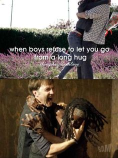 The Walking Dead. The Governor and Michonne for Things boys do we love - When boys refuse to let you go from a long hug. I know he was horrible but everytime I see this I can& stop laughing! Walking Dead Funny, Walking Dead Zombies, Fear The Walking Dead, Stuff And Thangs, Best Tv Shows, Film, Laugh Out Loud, The Funny, Just In Case