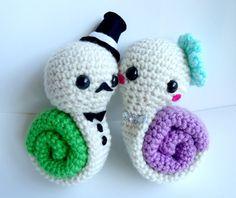 Couple Snails Crochet Plush Doll / Handmade Gift for Valentine / Couples Gift / wedding gift / Birthday gift/ gift for her. $70.00, via Etsy.