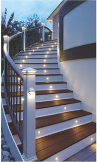 Love the lighting on the steps... not this fancy but get the lamps on the taller posts on that other deck if wanted for path looking stairs (not the lights on the stairs themselves)