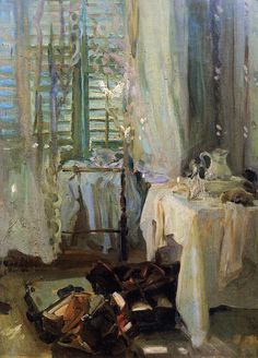 """A Hotel Room,"" by John Singer Sargent. Wikipedia: ""His commissioned works were consistent with the grand manner of portraiture, while his informal studies and landscape paintings displayed a familiarity with Impressionism."""