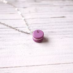Mini Purple Macaroon Pendant Handmade Necklace Polymer Clay Miniature Food Jewelry Cute Macaroon Necklace