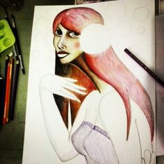 """""""Lady Rain 2"""" 42 x 30 cm Pencil color on paper 2014 Hand made by Yanas Kosel"""