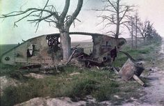 <> The wreck of a German tank, which was destroyed during a battle on the Western Front. WWI