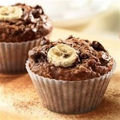 Banana, chocolate chips and cocoa star in this delicious recipe . . . no one will guess there's a kick of fibre in each muffin!