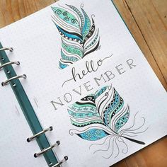 Bullet journal monthly cover page, November cover page, feather drawing. Anita G… Bullet journal monthly cover page, November cover page, feather drawing. Bullet Journal Cover Page, Bullet Journal 2019, Bullet Journal Writing, Bullet Journal Spread, Bullet Journal Layout, Journal Covers, Bullet Journal Inspiration, Journal Ideas, Bullet Journals