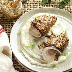 Filetes de dorada a la mostaza Hummus, French Toast, Pork, Meat, Breakfast, Ethnic Recipes, Youtube, Fish, Food Recipes