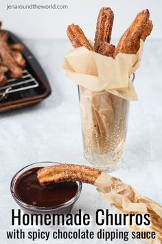 Homemade Churros With Spicy Chocolate Dipping Sauce
