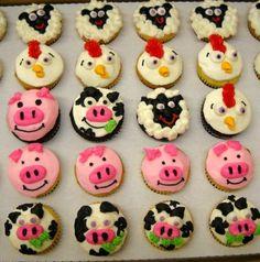 Farm animal cupcakes and cute Farm Animal Cupcakes, Kid Cupcakes, Custom Cupcakes, Birthday Cupcakes, Farm Birthday, Animal Birthday, Birthday Ideas, Farm Cake, Cupcake Wars