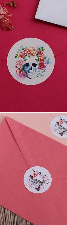 "60 Sugar Skull Full Color Vinyl Envelope Seals Labels Stickers 1.2/"" Round."