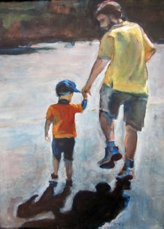 Luke Labriola, grandson, age 3 with Mike Labriola, dad. Age 3, Father And Son, Sons, Daddy, Watercolor, Fathers, People, Portraits, Paintings