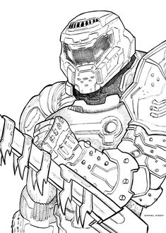 The Doom Slayer art Doom 2016, 3d Sketch, Sketches, Character Art, Character Design, Warframe Art, Guy Drawing, Drawing Games, Anime Characters