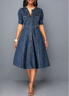 Ladies jeans Dress Spring Autumn Women long sleeve Slim O neck Half Sleeve Denim Dress Female Bow Midi Dress plus size Shirt Dress Button Up, Blue Shirt Dress, Jeans Dress, Outfit Jeans, Party Dress Sale, Club Party Dresses, Women's Fashion Dresses, Sexy Dresses, Casual Dresses