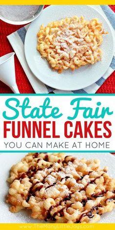 State Fair Funnel Cake Recipe, Funnel Cake Recipe Easy, Homemade Funnel Cake, Homemade Cake Recipes, Easy Funnel Cake Recipe With Pancake Mix, State Fair Recipe, Carnival Funnel Cake Recipe, Recipes For Cakes, Funnel Cake Bites