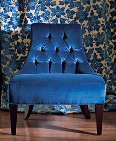 Gorgeous tufted blue velvet 'Salon' Lounge Chair by Thomas Pheasant for Baker Furniture as featured in Traditional Home Blue Velvet Chairs, Velvet Lounge, Blue Chairs, White Chairs, Accent Chairs, Baker Furniture, Velvet Furniture, Retro Furniture, Furniture Design