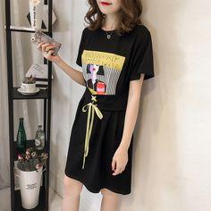 새로운 문자 인쇄 여름 새로운 도착 레이스 허리 드레스 여성 느슨한 라운드 넥 반소매 T 셔츠와 긴 치마