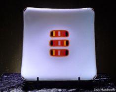 White with Strips in Oranges & Black Slumped Fused Glass Square Plate Bottle Slumping, Orange Amps, Glass Beer Mugs, Square Plates, Black Abstract, Glass Dishes, Fused Glass, Liquor, I Shop