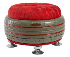 Grey Ottoman with Red Top (Duka)