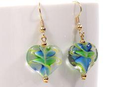 Glass Lampwork Heart Shaped Earrings by MyCreativeOasis on Etsy, $9.00