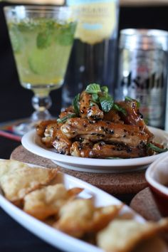 Asian-themed Super Bowl Party Menu... Yummy Spicy Whiskey-Soy Glazed Chicken Wings!