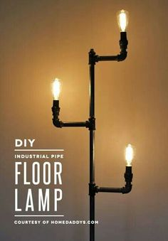 Industrial pipe floor lamp