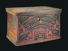 A red cedar bentwood Haida storage chest carved and painted with the protective image of Konankada, Chief of the Undersea World.