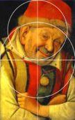 Jean Fouquet - Portrait of the Ferrara Court Jester Gonella. Jean Fouquet, Court Jester, Golden Ratio, Portrait, Art History, Composition, Central, Attention, Painting
