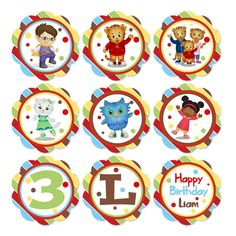 Daniel Tiger's Neighborhood Printable Birthday Party Cupcake toppers -  Digital on Etsy, $4.00
