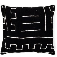 KINS - Black Mudcloth Cushion Reversible Gold ($90) ❤ liked on Polyvore featuring home, home decor, throw pillows, gold toss pillows, gold home decor, black accent pillows, gold home accessories and handmade home decor